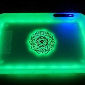 Eye Mandala Glowing LED Rolling Tray - green light